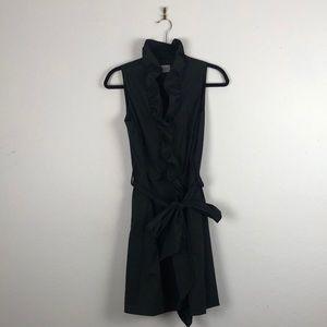 Milly Black Ruffle Collar Sleeveless Dress